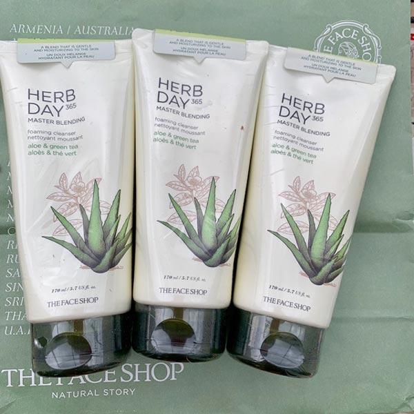 Hình ảnh thực tế Sữa Rửa Mặt Lô Hội & Trà Xanh Herb Day 365 Master Blending Foaming Cleanser 170ml