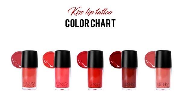 Son Kem Lì Unny Club Kiss Lip Tattoo Color Chart