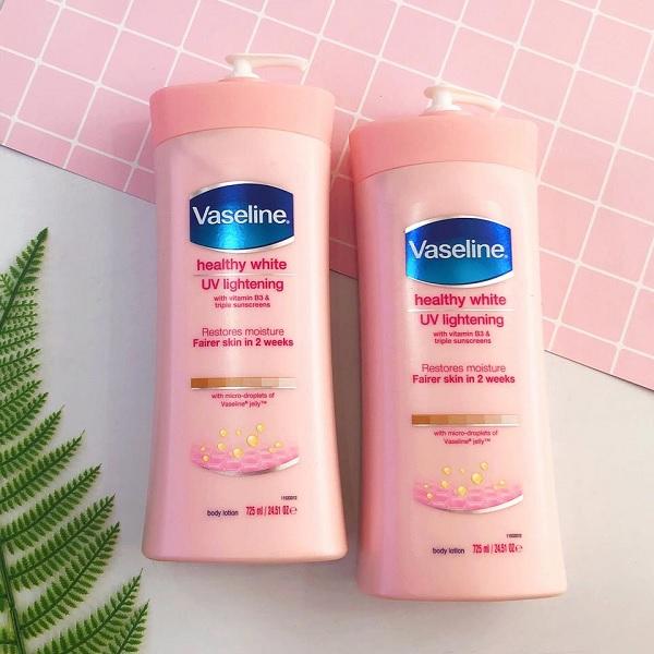 Hình ảnh thực tế Sữa Dưỡng Thể Trắng Hồng Da Vaseline Healthy White UV Lightening 725ml
